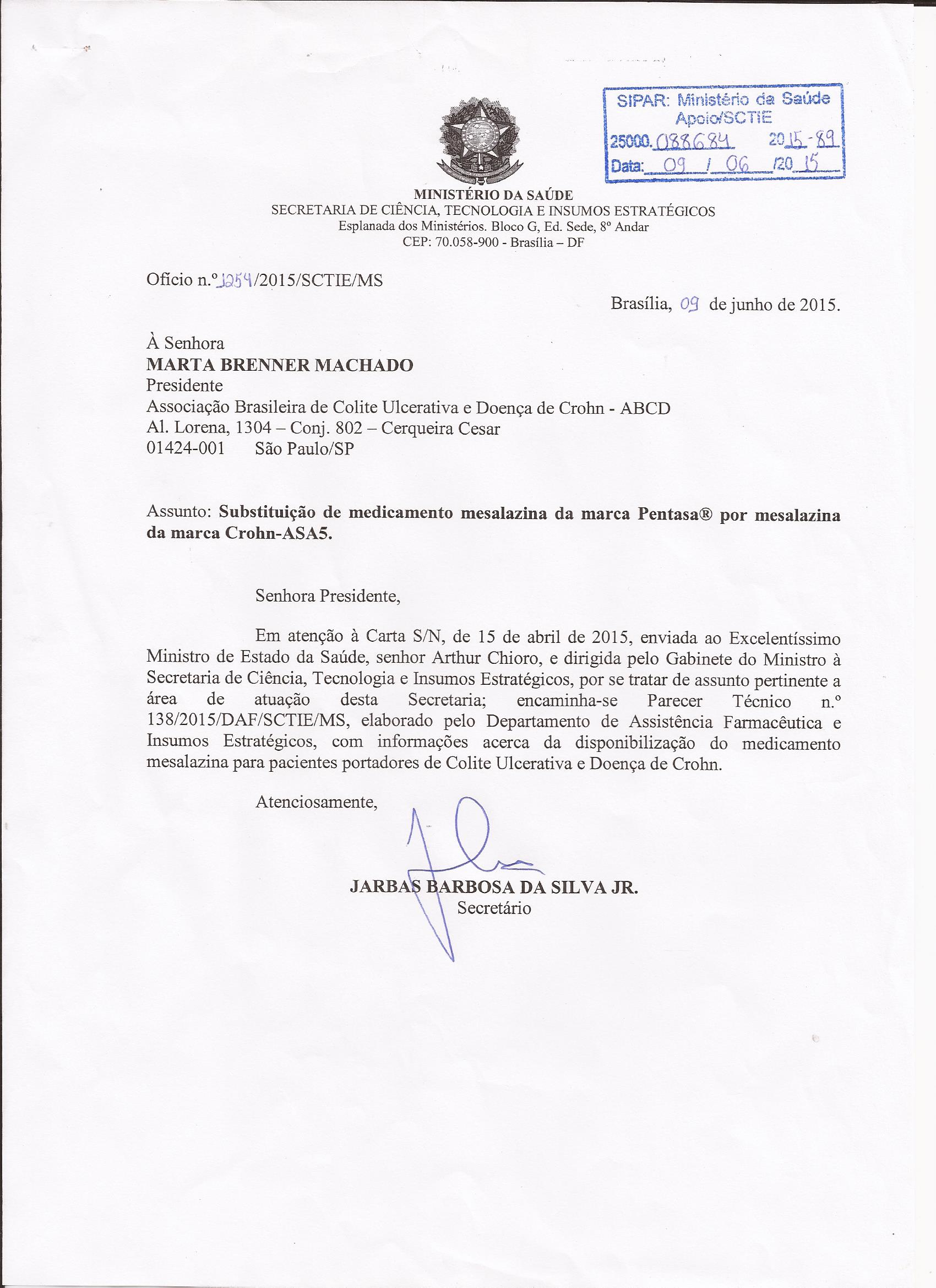 Carta resposta Ministério da Saúde sobre dispensação da Mesalaz0001