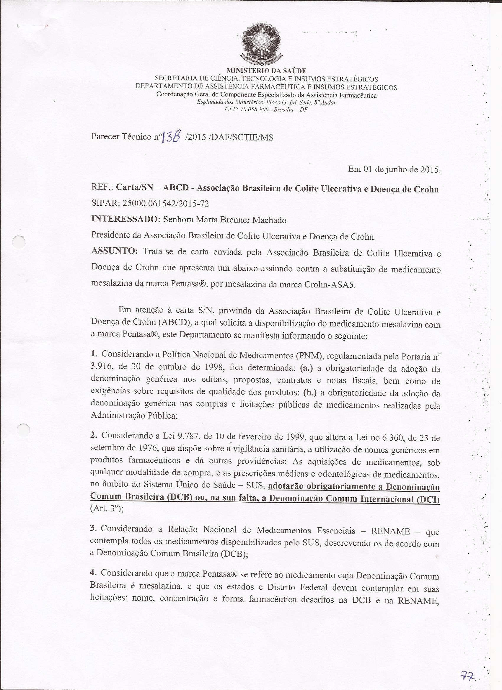 Carta resposta Ministério da Saúde sobre dispensação da Mesalaz0002