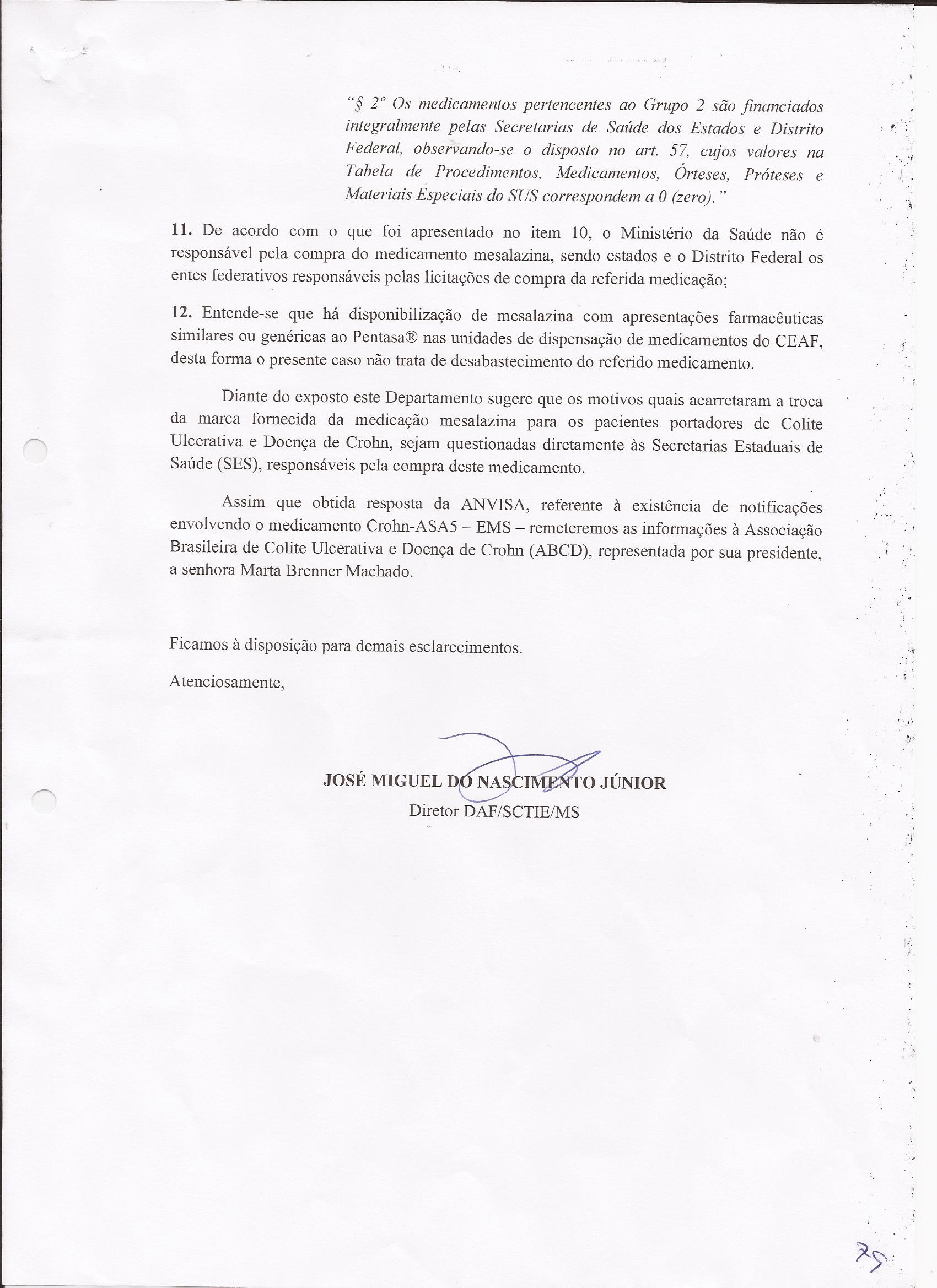 Carta resposta Ministério da Saúde sobre dispensação da Mesalaz0004