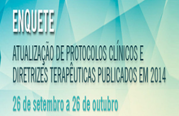 Enquete para Consulta Pública sobre atualização dos PCDTs até 26/10/2016